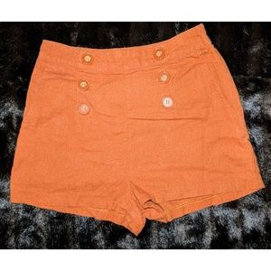 Forever 21 Boutique Shorts Orange With Buttons